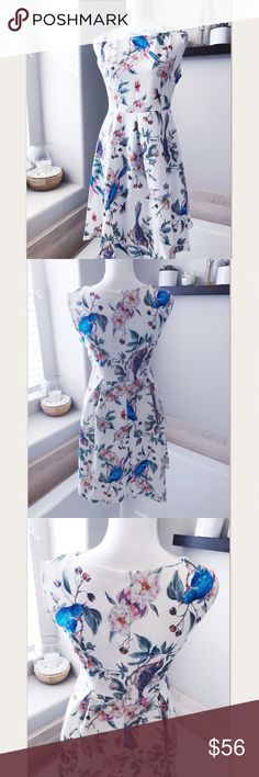 Blue bird white garden party dress This print is so vibrant and pretty! Perfect for a spring garden party/wedding/engagement...etc.  Cotton and spandex. Not lined but fabric has some weight to it so it's not see-through. Fabric has some stretch to it. Dresses Midi