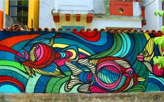 Graffiti Murals, Murals Street Art, Mural Art, Painting Inspiration, Art Inspo, Graffiti Workshop, Outside Wall Art, Art Classroom Management, Fish Art