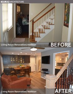 Living room renovation. Wall mounted flat panel TV. Open floor plan. Before and after images of renovation.