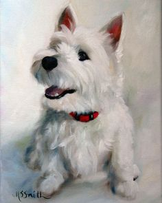 "Mary Sparrow Smith from Hanging the Moon – dog art, pets, portrait, paintings, gift ideas, home decor. Westie West Highland Terrier. ""Smiley Face"""