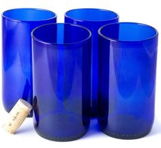 Recycled Wine Bottle Tall Flat Bottom Drinking Glasses in Blue (Set of