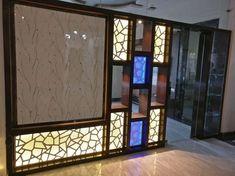 Wooden partition with CNC jali Partition Design, Glass Partition, Partition Ideas, Partition Walls, False Ceiling Living Room, Bedroom False Ceiling Design, Layout Design, Design Ideas, Office Light