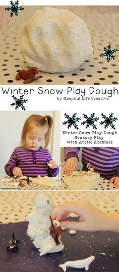 Winter Snow Play Dough recipe and ideas for sensory play this winter