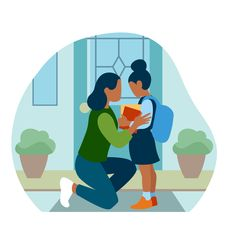 A mother saying goodbye to her child, who is going to school. An illustration about affordable housing in the States for The WashingtonPost BrandStudio. Thanks to the whole WP BrandStudio for making this article happen House Illustration, Illustrations, Affordable Housing, Mother Quotes, Mother And Child, Evans, Opportunity, Foundation, Shit Happens
