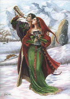 Welcoming Yule solstice fairy christmas man woman goddess rabbit mountain horn