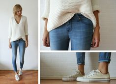 11 Street style skinny jean outfits I love! Ankle crops, white Converse, and an oversized sweater! Looks Chic, Looks Style, Style Me, Simple Style, Sweater Fashion, Denim Fashion, Look Fashion, Fashion Black, Fall Fashion