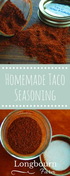 Homemade taco seasoning is so easy to make and lets you control exactly what goes in and what the spice level is like! Take 5 minutes and throw it together. Homemade Taco Seasoning, Seasoning Mixes, Homemade Spices, Homemade Food, Sauce Recipes, Cooking Recipes, Homemade Pancakes, Spice Mixes, Spice Blends