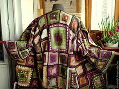 Купить Пальто-кардиган Цветные сны - бежевый, белый, бохо, зеленый, кардиган, коричневый, лиловый