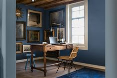 Gorgeous study painted with Indigo Shade, Denim Drift and Clock Face blue paints by Dulux Dulux Paint Colour Of The Year, Dulux Paint Colours, Color Of The Year 2017, Denim Drift Dulux Paint, Denim Drift Living Room, Interior Decorating, Interior Design, Blue Rooms, Ideal Home