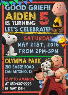 Peanuts Snoopy Birthday Party Invitation by DottyDigitalParty