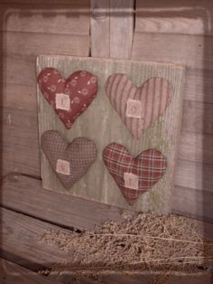 Rustic Fabric Stuffed Hearts Spelling Love...on an aged wood plank...from Daughternature Primitive Folk Art Love Valentine Hearts, Rabbit w/ Spring Sampler, Wool Easter Tree Skirt...