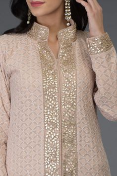 Oyster Pink Chikankari & Gota Patti Work Jacket with Skirt Salwar Designs, Kurta Designs Women, Kurti Designs Party Wear, Neck Designs For Suits, Dress Neck Designs, Blouse Designs, Kurti Embroidery Design, Embroidery Suits, Kurta Neck Design