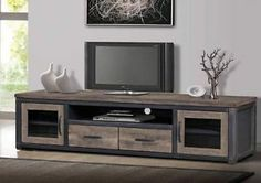 Rustic Vintage Reclaimed Wood TV Stand Entertainment Center Media Console | eBay