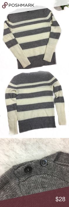 J. Crew Buttoned Boatneck Stripe Sweater J. Crew buttoned boatneck Sweater in gray and ivory stripes.   * EUC  * 40% Wool, 50% Acrylic, 10% Mohair * See pictures for measurements J. Crew Sweaters Crew & Scoop Necks