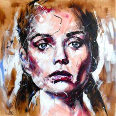 Portrait T129 Acrylique & fusain sur toile 100x100cm http://www.lucile.callegari.fr