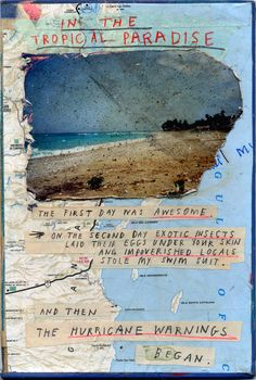 Wish You Were Here. Mixed media with found photograph on book cover. By David Fullarton