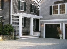 love the grey with black shutters/garage door with white trim Exterior House Colors, Exterior Paint, Exterior Design, Exterior Homes, Grey Garage Doors, Garage Door Design, Front Doors, Black Shutters, Black Doors
