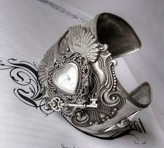 Gothic Jewelry by Aranwen :: Gothic Watch Cuff with Silver Wings, Heart, Flower and Key