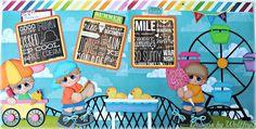 ELITE4U  BOY PARK  LAYOUT  paper piecing premade scrapbook page album   WOLFFEY5