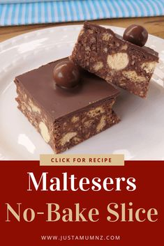 No Bake Slice Delicious and simple Malteser Slice. Great with chocolate and packed with maltesers.Delicious and simple Malteser Slice. Great with chocolate and packed with maltesers.