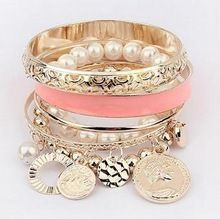 6 colores de perlas huecas monedas elemento Avatar declaración de múltiples capas del encanto del brazalete y pulsera joyería moda las mujeres PD26 - Lady tienda(China (Mainland))