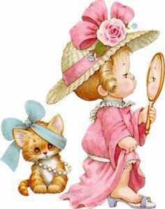 Dametje met Spiegel en Poesje