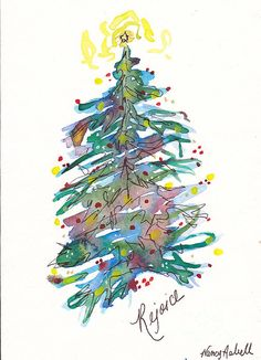 christmas tree painting Rejoice Christmas Tree Painting by Michele Hollister - for Nancy Asbell Watercolor Christmas Tree, Christmas Tree Painting, Watercolor Trees, Watercolor Cards, Watercolor Paintings, Simple Watercolor, Tattoo Watercolor, Watercolor Animals, Watercolor Techniques