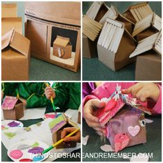 Birdhouse Idas for Kids made from Milk Cartons, these are an adorable valentines day activity for kids and a fantastic way to recycle milk cartons