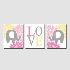 Floral Elephant Nursery Artwork Pink Gray Grey Yellow Love Set of 3 Prints Modern Baby Girl Nursery Art Decor Wall Art Decor Picture Safari