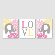 Floral Elephant Nursery Artwork Pink Gray Grey Yellow Love Set of 3 Prints Modern Baby Girl Nursery Art Decor Wall Art Decor Picture Safari
