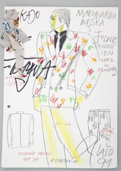 """Jerzy Antkowiak, """"Moda Polska"""", projekt męskiego ubioru na lato 1991, wł. MNK #PRL #Moda Polska #Polish Fashion #Jerzy Antkowiak"""