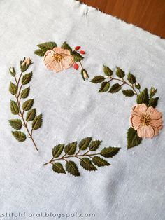 dogrose floral heart embroidery