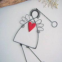 Dekorácie - anjel so srdiečkom- vianoce - 8212653_