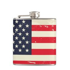Simulated wear and age US Flag Flask
