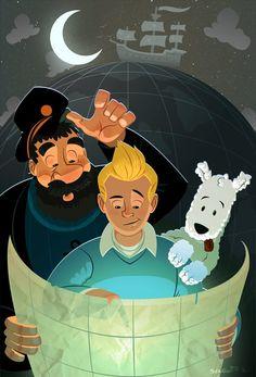 Tintin, Captain Haddock and Snowy