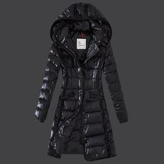 2013 New! France Moncler Hermine Down Coats Womens Windproof Black Outlet