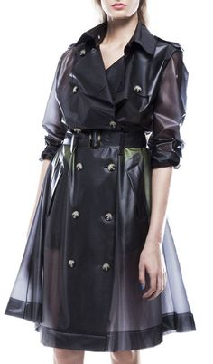 Oversized grey double-breasted belted trenchcoat made from transparent vinyl.. DIY the look yourself: http://mjtrends.com/pins.php?name=transparent-vinyl-for-coat_1