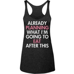 Fitness Funny Workout Tanks - Already planning what I'm going to eat after this workout! Funny fitness tank tops to hit the gym in. I run for the food. Snap up a cute fitness tank to wear next time you hit the gym. Funny Workout Tanks, Workout Humor, Workout Tank Tops, Funny Workout Clothes, Funny Tanks, Gym Humor, Moda Fitness, Workout Attire, Workout Wear