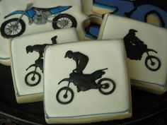 birthday cookies to match the twins' dirt bikes :) Motocross Birthday Party, Motorcycle Birthday Parties, Dirt Bike Party, Sugar Cookies, Cookies Et Biscuits, First Birthday Cookies, 16th Birthday, Cookie Designs, Cookie Ideas