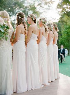 Pale blush bridesmaid dresses: http://www.stylemepretty.com/2016/03/08/tented-at-home-chicago-wedding/ | Photography: Jose Villa - http://josevilla.com/