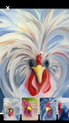 art dessin Painting art ideas acrylics canvases New Ideas Rooster Painting, Rooster Art, Chicken Painting, Chicken Art, Fried Chicken, Acrylic Canvas, Canvas Art, Guache, Galo