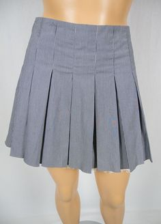 HAUTE HIPPIE New Pleated Mini Skirt L Gray White Stripe Lace Trim Silk Line and Sold At Holt Renfrew