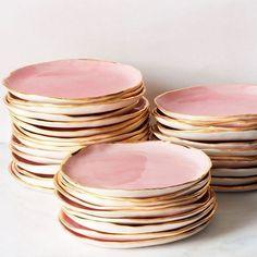 Pink handmade ceramic plates with gold edges by Suite One Studio.   theprettycrusades.com