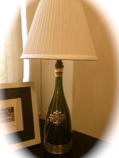My new lamp -- I made it from a Segura Viudas bottle -- cost: only $15 . Thanks to an idea from suziscrafts.com!