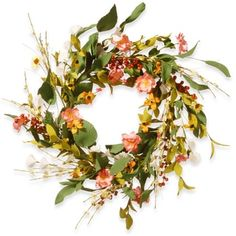 National Tree Company Off-white Fabric 22-inch Spring Flower Wreath - Free Shipping On Orders Over $45 - Overstock.com - 20140930 - Mobile