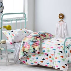 Adairs Kids Girls Raindrop Confetti - Bedroom Quilt Covers & Coverlets - Adairs Kids online Olivia's pick - fits her brief of colourful and rainbows haha Bed Sets, Rainbow Bedroom, Rainbow Bedding, Bright Bedding, White Bedding, Adairs Kids, Deco Kids, Little Girl Rooms, Kid Decor