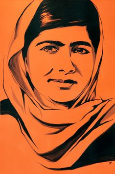 Signed poster-sized print of a painting by Rachel Dolezal of Malala Yousafzai. Cool Art Drawings, Pencil Art Drawings, Malala Yousafzai, Sign Printing, Face Art, Art Faces, Pablo Picasso, Human Body Drawing, Art Painting Gallery