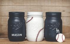 I had a customer contact me looking for a fun baby shower gift… She bought a set of my metallic painted mason jars a few months back. Her friends new baby boy is named Mason. The parents were painting his new bedroom in a blue and white baseball theme so we decided on some baseball …