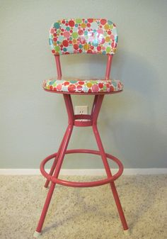 Polka Dot Swivel Bar Stool  ($225. on Etsy, watermelon pink paint)