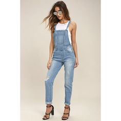 Glamorous Dolores Park Light Wash Distressed Denim Overalls ($67) ❤ liked on Polyvore featuring jumpsuits, glamorous jumpsuit, pink overalls, strappy jumpsuit, pink bib overalls and distressed overalls
